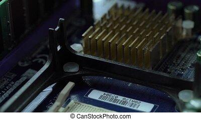 Close up shot of processor on motherboard - Hardware....