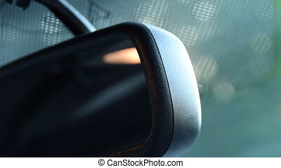 Close Up shot of rear view mirror with sunflair in Ford Mustang Muscle Car Driving, Sunshine HD