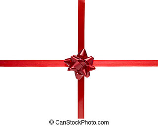 gift bow on red ribbon