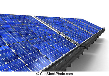 Close-up shot of row of solar panels against a white background