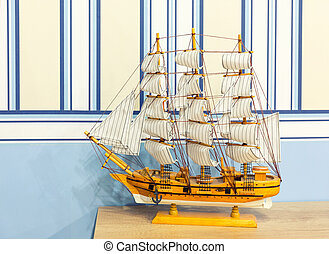 Close up shot of sail ship model