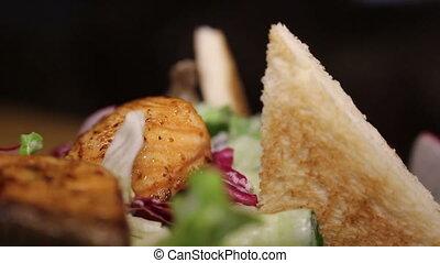 close up shot of salmon salad