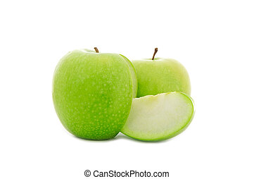 sliced green apple isolated on white - close up shot of...