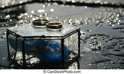 Close-up shot of small spring rain in the morning on sunny day, dripping on pair of shiny gold wedding rings lying on hexagonal glass wedding box, in which lies beautiful blue orchid flower for bride.