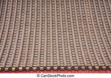 Close up shot of some chinese style roof tiles.