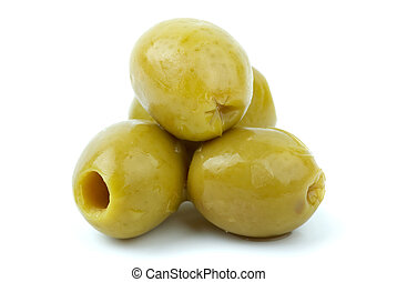 Close-up shot of some pitted olives isolated on the white ...