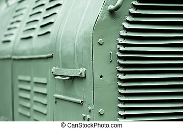 Close up shot of the old locomotive