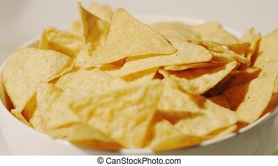 Tortilla chips on the plate