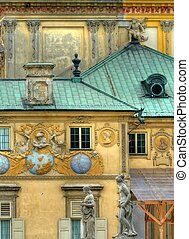 Wilanow palace in Warsaw - Close up shot of the Wilanow ...
