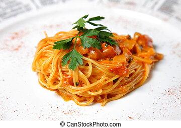tomato sauce pasta - close up shot of tomato sauce pasta