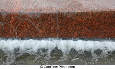 close-up shot of water flowing in fountain