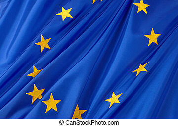 European Union flag - Close-up shot of wavy European Union...