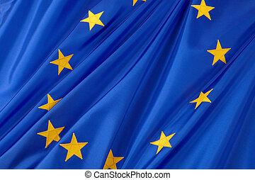 European Union flag - Close-up shot of wavy European Union...