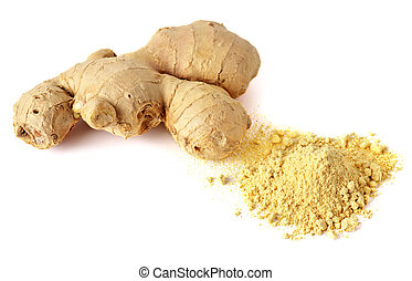 Close-up shot of whole ginger with spice isolated on white background