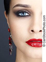 close-up shot of woman face