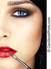 close-up shot of woman lips makeup