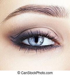 close-up shot of woman's eye