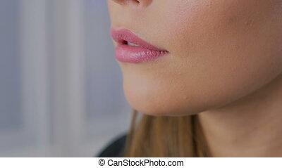 Close up shot of woman's lips