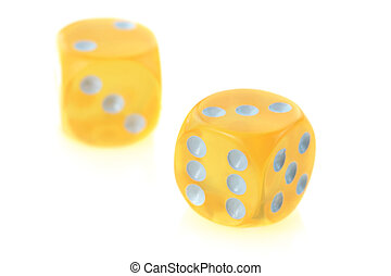 yellow dice on white background