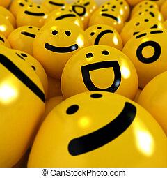 Close up shot on yellow emoticons