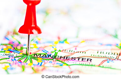 Red pushpin showing Manchester City On Map, United Kingdom, Travel Destination Concept