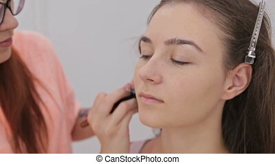 Close up shot. Professional make-up artist applying powder to woman face