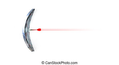 Close up shot red dart arrow on center of bending dartboard, metaphor to target success, winner concept, Isolated on white background with clipping path