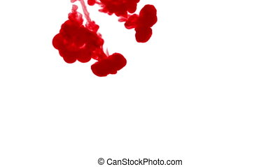 Close-up shot. Red dye creating abstract cloud formations in water and move in slow motion. Use for inky background or backdrop with smoke or ink effects, use luma matte like alpha mask