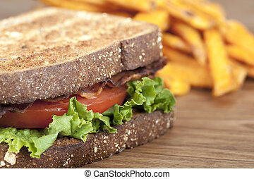 close up shot to the blt sandwich - Close-up shot to the BLT...