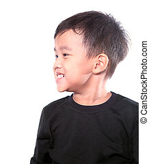 close up side head shot of asian children toothy smiling face isolated white background