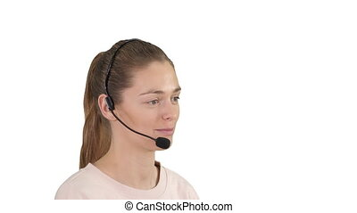 Beautiful call center operator with headset talking on white background.