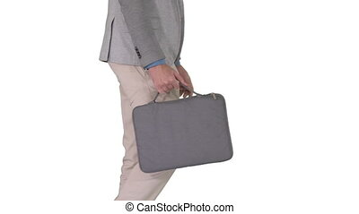 Man in casual walking with briefcase on white background. -...