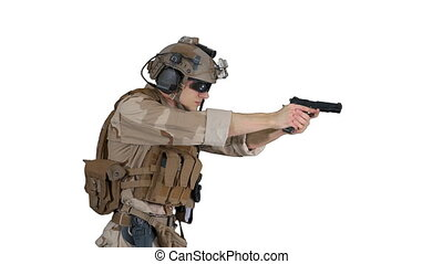 Close up. Side view. Marine in camouflage walking and aiming with a hand gun on white background. Professional shot in 4K resolution. 048. You can use it e.g. in your medical, commercial video, business, presentation, broadcast