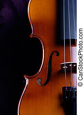 violin - close up side view of a violin standing upright