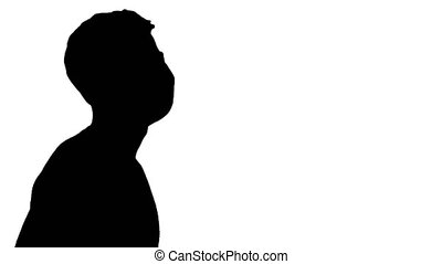 Close up. Side view. Silhouette Blind Man in Black Glasses Walking. Professional shot in 4K resolution. 53. You can use it e.g. in your medical, commercial video, business, presentation, broadcast