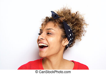 Close up side young african american woman laughing