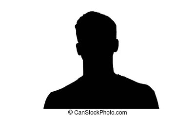 Close up. Silhouette Blind young man with stick walking. Professional shot in 4K resolution. 53. You can use it e.g. in your medical, commercial video, business, presentation, broadcast