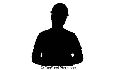Silhouette Construction worker getting paid for the work in...