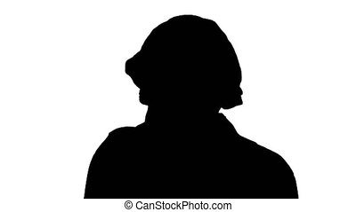 Silhouette Coughing Female Doctor in a Mask To Prevent Others From Infection.
