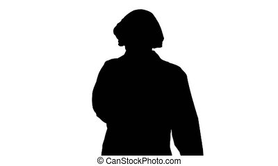 Silhouette Doctor woman feeling ill with a sore throat and flu symptoms, coughing with mouth covered.