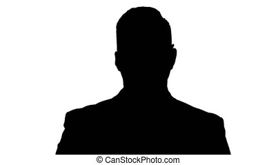 Silhouette Man in formal clother with a headset presenting...