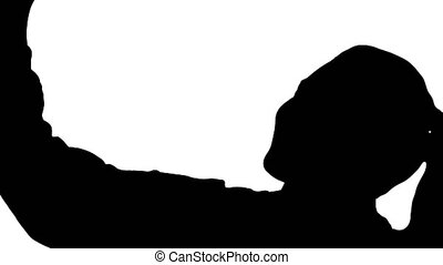 Silhouette Smiling cheerful blond-haired woman doing selfie....