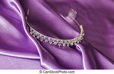 Close-up silver diadem - Close-up of silver diadem on purple...