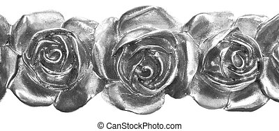 Close Up Silver Metal Roses