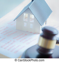 Close up Simple Miniature House on Top of Reports