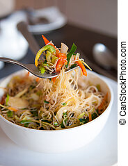 Singapore fried rice noodles - Close up Singapore fried rice...