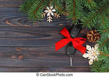 close-up, sleutels, auto, boog, houten, rode achtergrond, kado, aanzicht