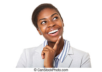 Close up smiling african american woman looking up