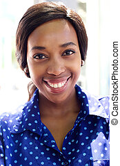 Close up smiling african business woman