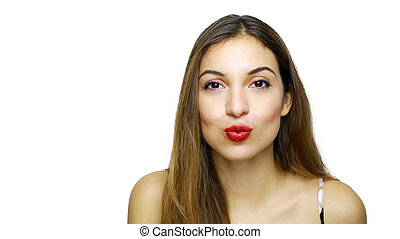 Close up smiling beauty woman looking and send kiss to the camera with copy space isolated on white background